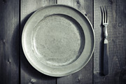 Wooden Table Prints - Plate And Fork Print by Joana Kruse