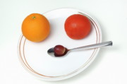 White Grape Photos - Plate and spoon with fruits by Sami Sarkis