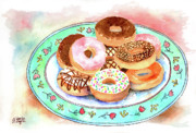 Donuts Painting Prints - Plate Of Donuts Print by Arline Wagner