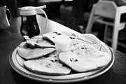 Maple Syrup Posters - Plate Of Freshly Made Blueberry Pancakes Whipped Butter And Maple Syrup In A Cafe In Canada Poster by Joe Fox