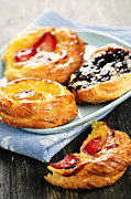 Apricot Posters - Plate of fruit danishes Poster by Elena Elisseeva