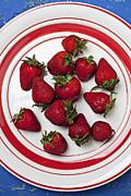 Blue Table Framed Prints - Plate of strawberries Framed Print by Garry Gay
