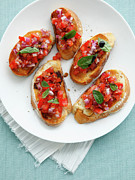 Balsamic Vinegar Framed Prints - Plate Of Tomato Bruschetta Framed Print by Cultura/BRETT STEVENS