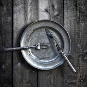 Pewter Prints - Plate With Silverware Print by Joana Kruse