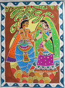 Platonic Prints - Platonic Love- Radha And Krishna Madhubani Painting Print by Aboli Salunkhe