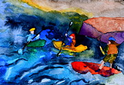 Kayak Paintings - Platte River Paddling by Beverley Harper Tinsley