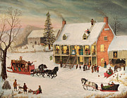 Currier And Ives Paintings - Platter Grove Inn by Joseph Holodook