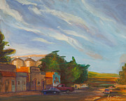 Streetscape Painting Originals - Platteville by Athena  Mantle