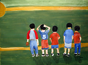 Softball Painting Posters - Play Ball Poster by Sandy McIntire