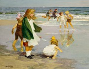 Children Playing Paintings - Play in the Surf by Edward Henry Potthast