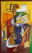 Cubism Art Framed Prints - Play It Again Sam Framed Print by Brien Cole