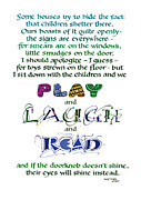 Privilege Framed Prints - Play Laugh Read Framed Print by Judy Dodds