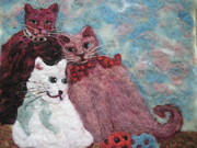 Cats Tapestries - Textiles Posters - Play Mates Poster by Selma Glunn