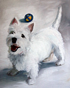 Westie Puppies Posters - Play Please Poster by Mary Sparrow Smith