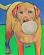 Yellow Dog Metal Prints - Play With Me Metal Print by Pat Saunders-White