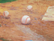 Home Plate Paintings - PLayball by Ronald Lightcap
