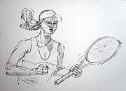 Tennis Drawings Originals - Player 09 by Mohd Raza-ul Karim