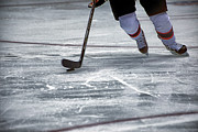 Hockey Photos - Player and Puck by Karol  Livote