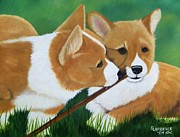 Corgis Framed Prints - Playful Corgis Framed Print by Debbie LaFrance
