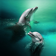 Moonlit Digital Art Prints - Playful Dolphins Print by Julie L Hoddinott