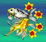 Tropical Fish Drawings Posters - Playful Koi Poster by Sheryl Unwin