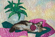 Animal Art Tapestries - Textiles Prints - Playful Mischief  Print by Denise Hoag