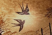 Artwork Digital Art Digital Art - Playful Swallows 2 digital art by Georgeta  Blanaru