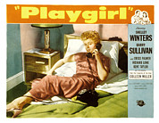 1950s Poster Art Framed Prints - Playgirl, Shelley Winters, 1954 Framed Print by Everett