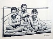Boy And Girl Drawings - Playground by Carmen Del Valle