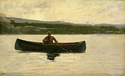 Canoe Posters - Playing a Fish Poster by Winslow Homer