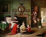 Women Children Painting Framed Prints - Playing at Doctors Framed Print by Frederick Daniel Hardy