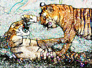 Wildcats Paintings - Playing Bengals by Elinor Mavor