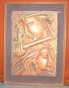 Plaque Reliefs - Playing flute by Prity Jain
