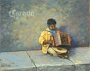 Mexican Painting Originals - Playing for Pesos by Jerry McElroy