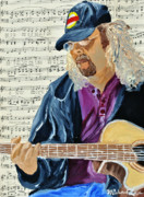 Guitar Painting Originals - Playing For The Street by Michael Lee