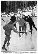 Shinny Framed Prints - Playing Ice Hockey, 1913 Framed Print by Granger