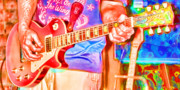 Music Photos - Playing in Color by Angie Rayfield