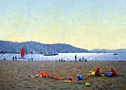 Sail Boats Posters - Playing in the Sand Poster by Roelof Rossouw