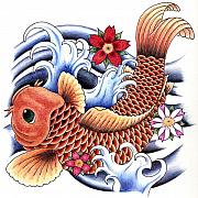 Tattoo Drawings Framed Prints - Playing Koi Framed Print by Maria Arango