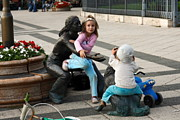 Playing On Sculpture Print by Sally Weigand