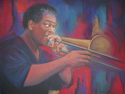 African-american Pastels - Playing the Blues by Diane Caudle