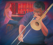 Music Pastels Originals - Playing the Blues II by Diane Caudle