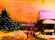 Winter Fun Paintings - Playing Until The Sun Sets by Carole Spandau