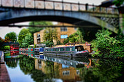 Tilt Shift Prints - Playing with Canal Boats Print by Heather Applegate