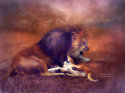 Lion Art Posters - Playing With Dad Poster by Carol Cavalaris