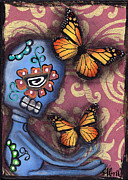Monarch Paintings - Playing with Monarchs by  Abril Andrade Griffith