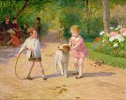Doggy Framed Prints - Playing with the Hoop Framed Print by Victor Gabriel Gilbert