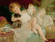 Cushion Art - Playmates by Emile Munier