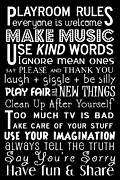 Kids Room Art Metal Prints - Playroom Rules Metal Print by Jaime Friedman