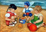 Oil Painting - Playtime at the Beach by Enzie Shahmiri
